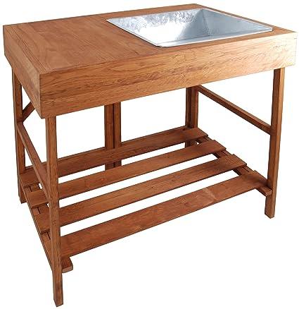 Amazon.com: esschert design madera macetas mesa: Jardín y ...