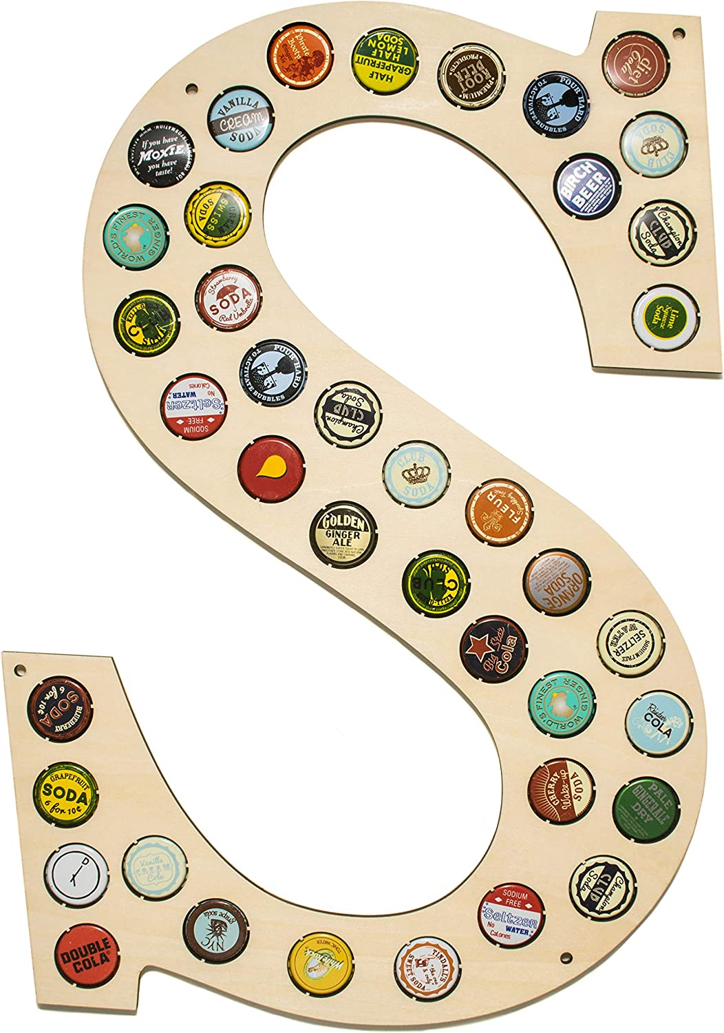 CAPLORD Beer Bottle Caps Holder Wall Decor Monogram Letter - Craft Beer Gift Ideas for Men, Housewarming Hostess Gifts for New Home Decor, Man Cave House Warming Presents Decorations (Letter S)