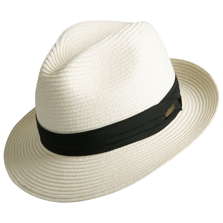 Sedancasesa Women and Men's Straw Fedora Panama Beach Sun Hat Black Ribbon Band SM133003