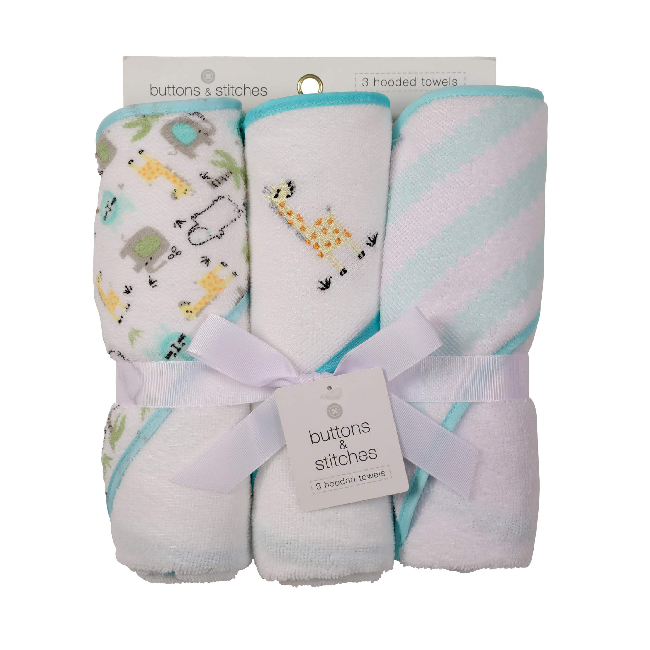 Buttons and Stitches 3 Piece Infant Hooded Towel, Giraffe Prints by Buttons and Stitches