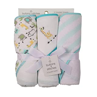 Buttons and Stitches by Cudlie Accessories 3 Piece Infant Hooded Towel, Giraffe Prints