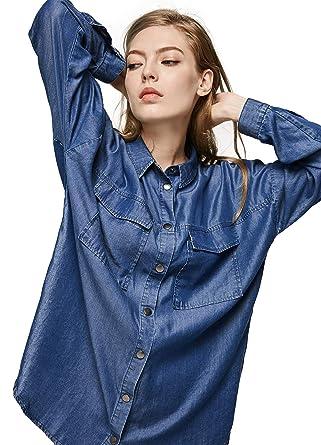4b982f8a9fb6a Escalier Women s Denim Shirt Chambray Tencel Long Sleeve Button Down Blouse  Blue M