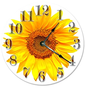 "Large 10.5"" Wall Clock Decorative Round Wall Clock Home Decor Novelty Clock YELLOW SUNFLOWER"