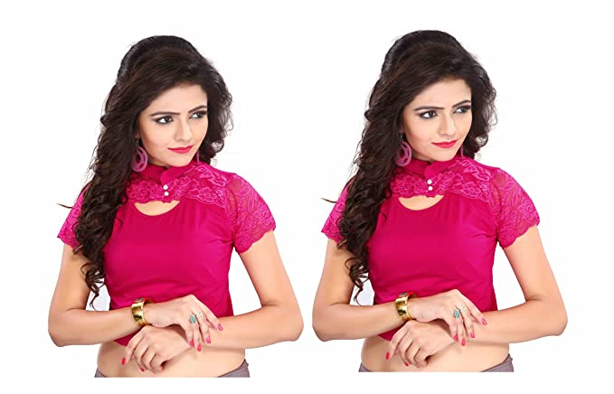 6ef0403626f1d Amazon.com  Fressia Fabrics Stretchable Lycra Cotton Saree Blouse Readymade  for Women Free Size Pack of 2-121pack of 2(ranipink 2qty)  Clothing