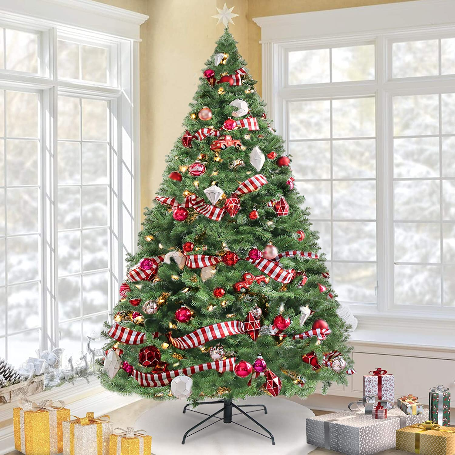 KingSo 7.5ft Christmas Tree Premium Spruce Hinged Artificial Full Tree for Home, Office, Party Christmas Decorations with Solid Metal Foldable Stand, Easy Assembly,1300 Tips