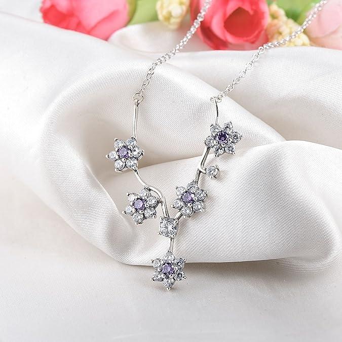 57f4b417560a AnazoZ Juego de Joyas Mujer Plata de Ley Anillo Pendientes Collar Mujer  Flor Cristal Juegos de Joya Púrpura Anillo Talla 12  Amazon.es  Joyería