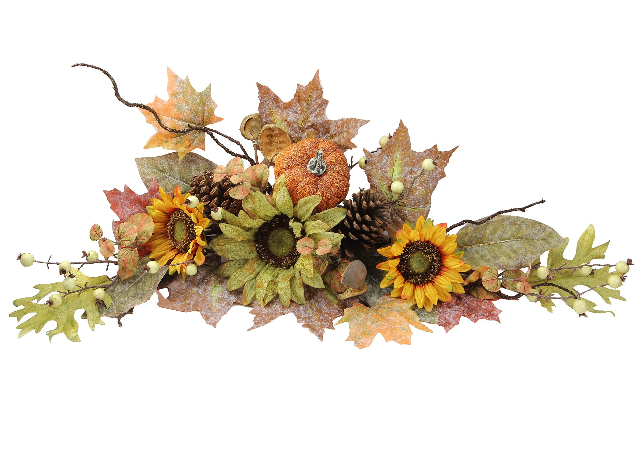 """silk flower arrangements admired by nature gfw6003-natural artificial sunflowers/pumpkins/pinecone/maple leaves/berries fall festive harvest display swag, 30"""", green/autumn"""