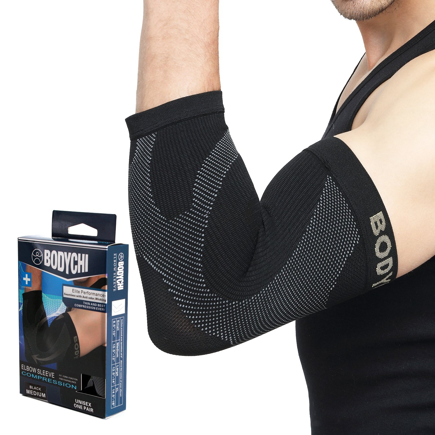 BODYCHI Seamless Elbow Brace Compression Support Sleeve Pair, for Tendonitis, Tennis Elbow, Golf Elbow Treatment, 20-30 mmHg, Medium