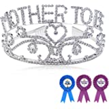 Konsait Mother to Be Tiara with Dad To Be Pin & Grandma To Be Pin, Mom to Be Gift Tiara with Dad and Grandma Button for Baby Shower Favors and Baby Shower Gift Supplies