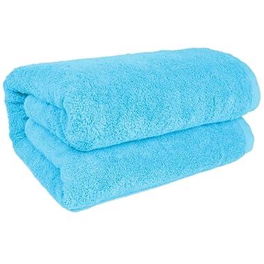 SALBAKOS 40 x80  Turkish Cotton Bath Sheet, Luxury, Eco-friendly Large Oversized (40x80, Aqua)