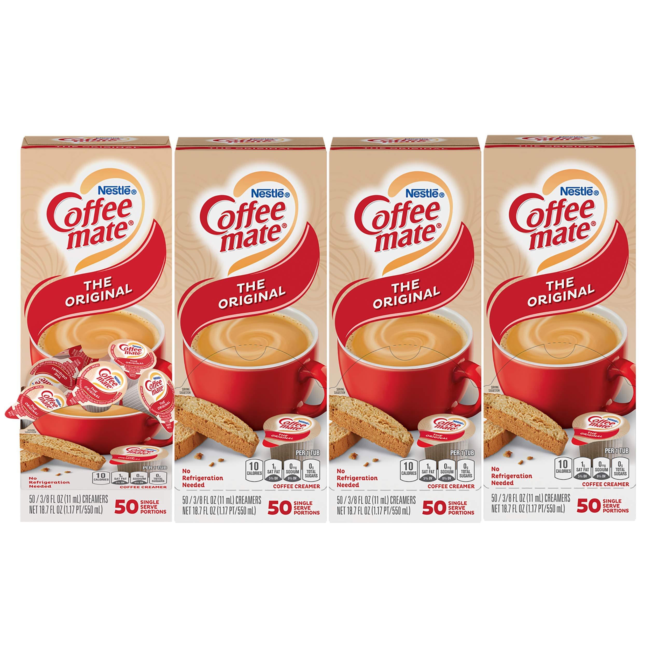 Nestle Coffee mate Coffee Creamer, Original, Liquid Creamer Singles, Non Dairy, No Refrigeration, Box of 50 Singles (Pack of 4)