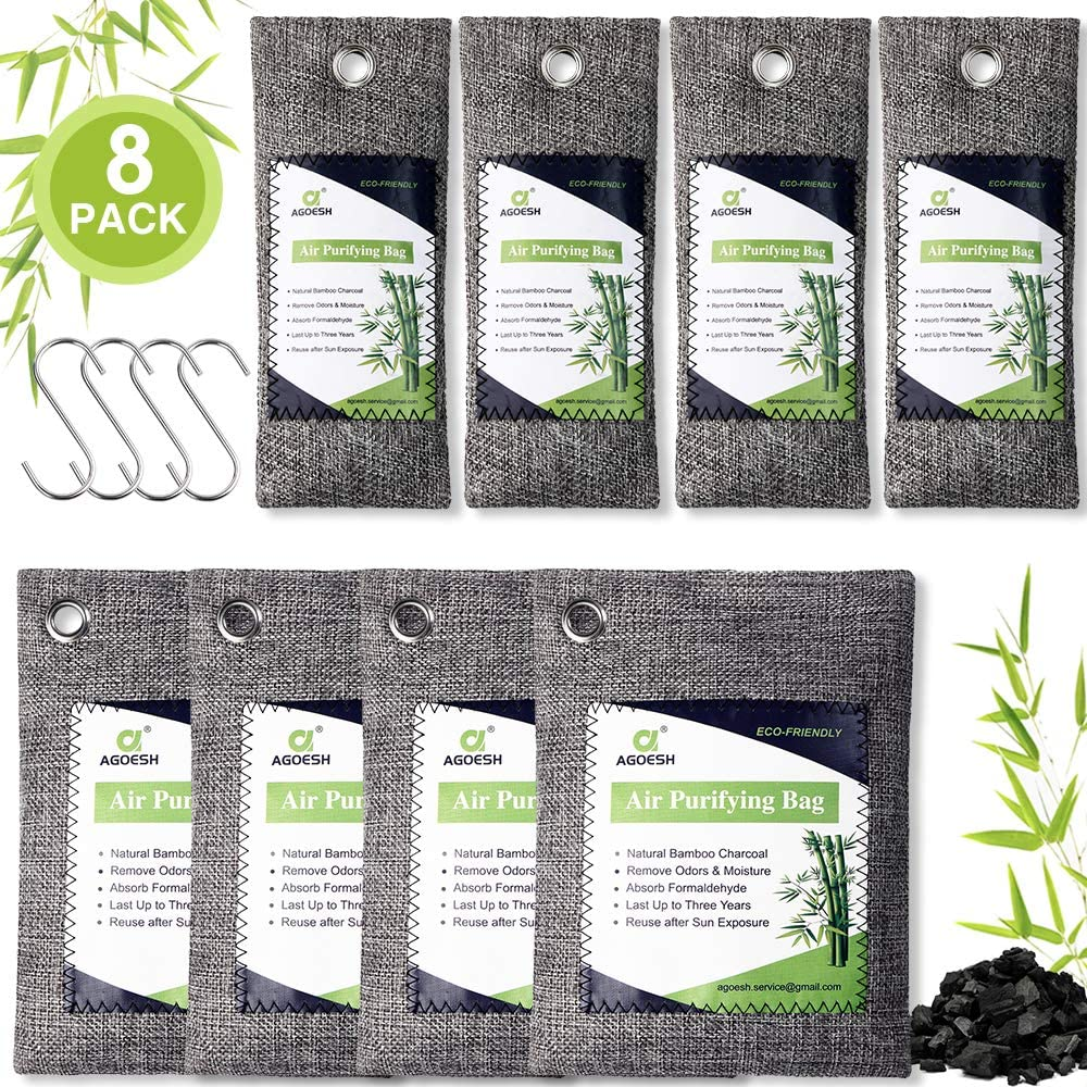 AGOESH Bamboo Charcoal Air Purifying Bag 8 Pack with 4 Hooks,Activated Charcoal Bags Odor Absorber,Chemical&Fragrance Free,Nature Fresh Charcoal Bags for Home,Car,Pet Areas,200g &80g Charcoal Bags