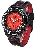DETOMASO Herren- Armbanduhr Firenze Chronograph mit schwarzem Edelstahl-Gehäuse und rotem Zifferblatt. Klassische und wasserdichte Quarz Herren-Uhr.