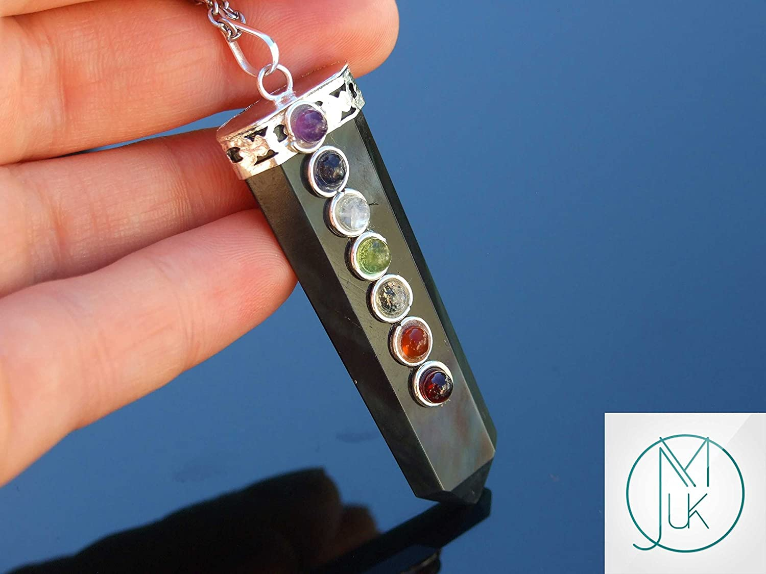 Rainbow Obsidian 7 Chakra Flat Natural Gemstone Pendant Necklace 50cm Healing Stone With Pouch FREE UK SHIPPING