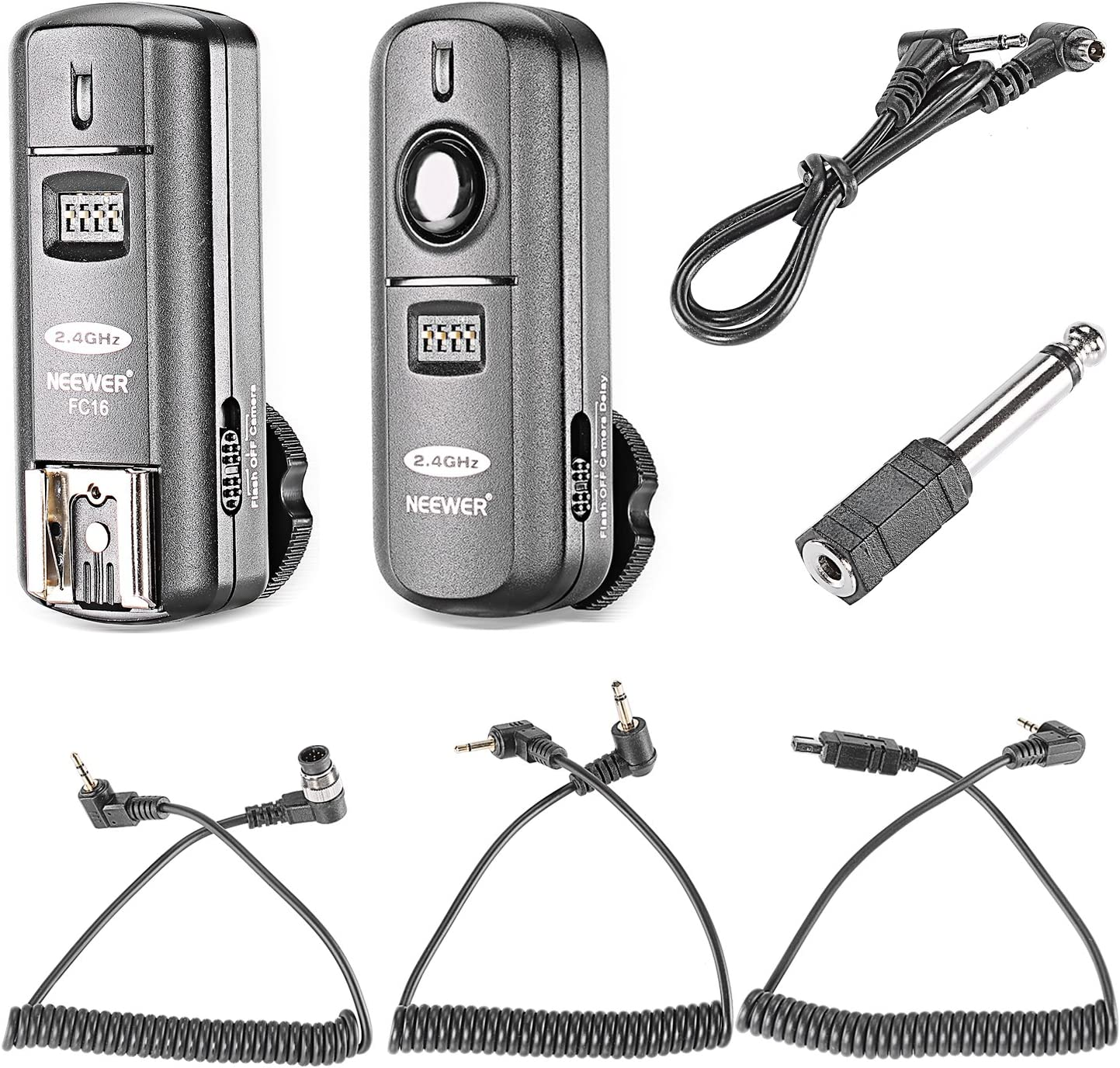 Neewer FC-16 Multi-Canal 2.4 GHz 3-IN-1 - Disparador Flash Inalámbrico/ Flash Estudio con Obturador Remoto para D7100 D7000 D5100 D5000 D3200 D3100 D600 D90 D800E D800 D700 D300S D300 D200 D4 D3S D3X