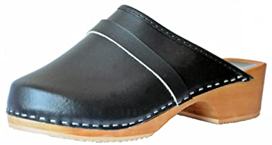 'Marited' Damen / Herren Holz Clogs Leder Upper Gelb (40)
