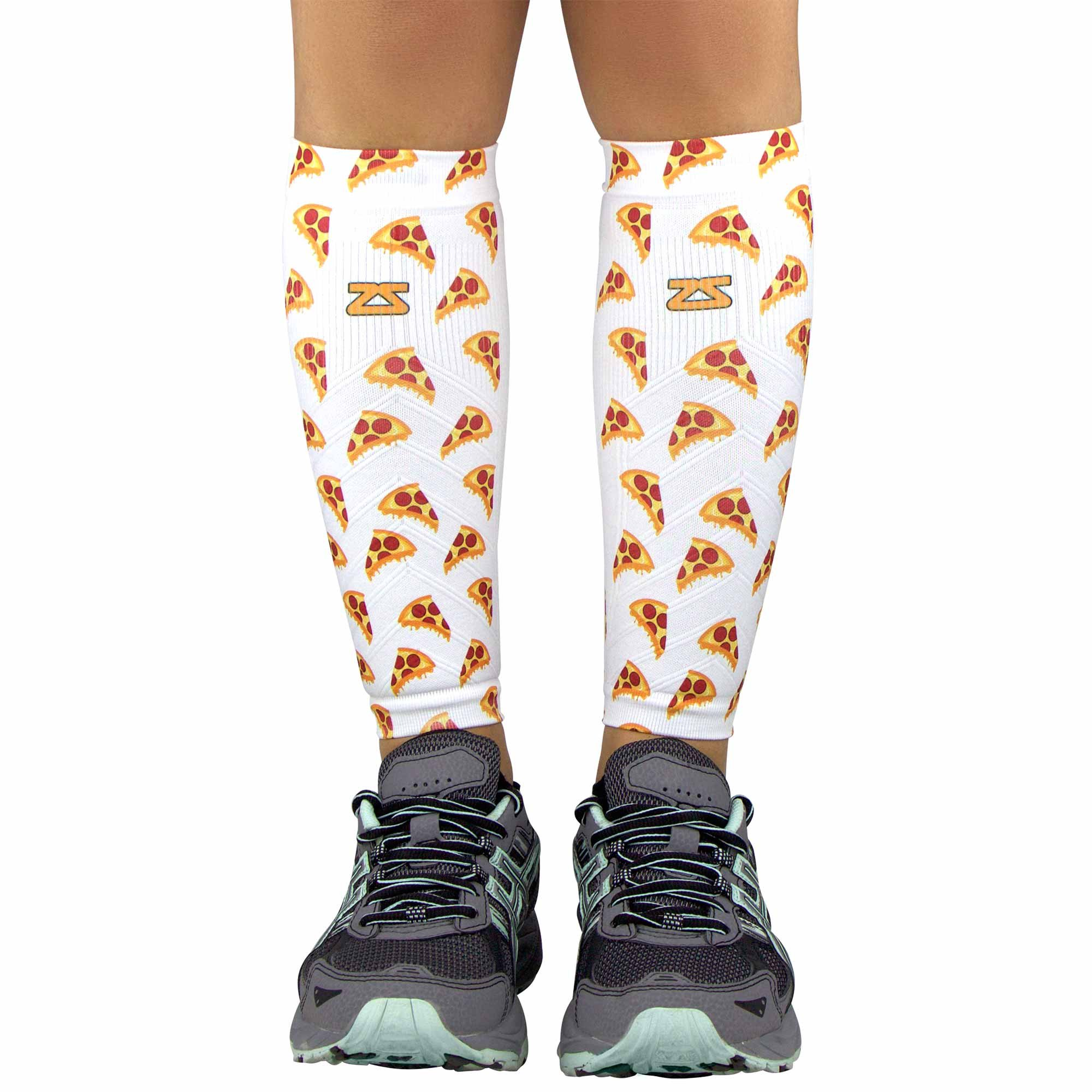 Zensah Compression Leg Sleeves - Helps Shin Splints, Leg Sleeves for Running (X-Small/Small, Pizza Slices-White)