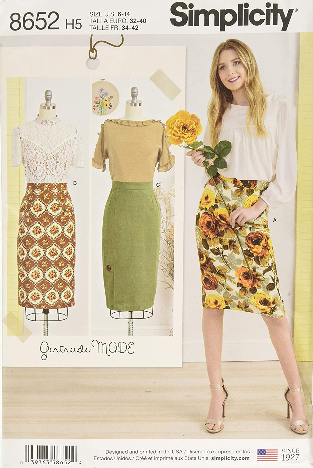 6-8-10-12-14 Simplicity Patterns US8652H5 Skirts /& Pants H5