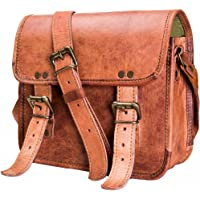 Urban Leather Messenger Bag Unisex Cross Body Purse Handbag for Men Women Boys Girls Small Size 9 inches