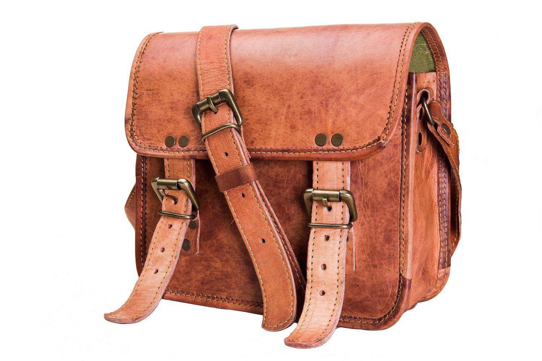 Urban Leather Small Messenger Bag Saddle Satchel Handbag Sling Crossbody Bag Purse for Men Women Boys Girls