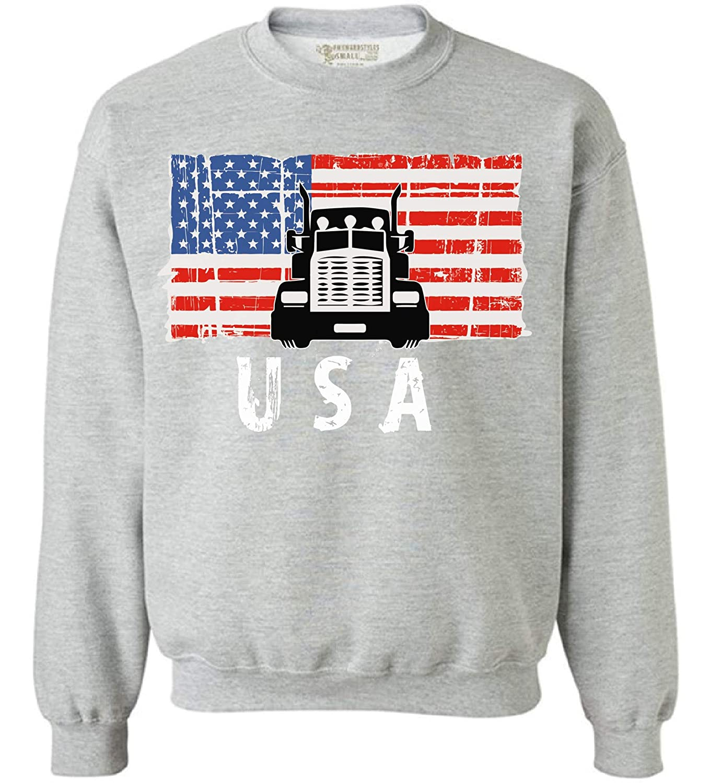 Awkward Styles Truck USA Crewneck Love USA Truck Sweatshirt for Men Women 4th July Gifts