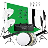 Emart 8.5 x 10 ft Backdrop Support System, Photography Video Studio Lighting Kit Umbrella Softbox Set Continuous…