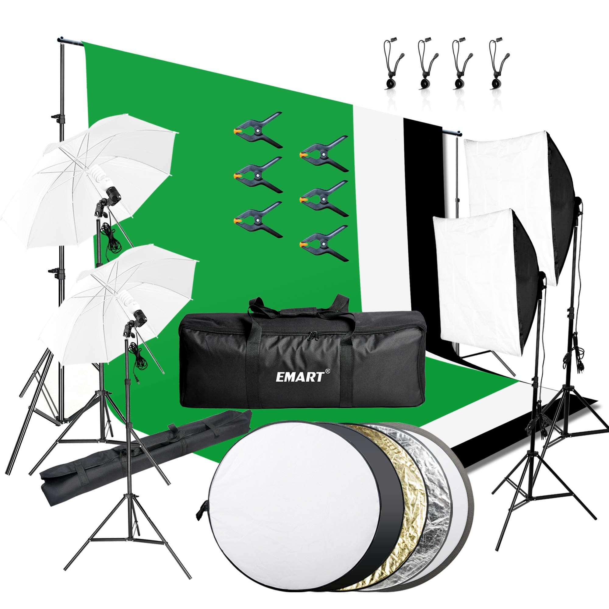 Emart 8.5 x 10 ft Backdrop Support System, Photography Video Studio Lighting Kit Umbrella Softbox Set Continuous Lighting for Photo Studio Product, Portrait and Video Shooting Photography by EMART