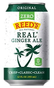 Reed's Zero Sugar Real Ginger Ale, All-Natural Classic Ginger Ale Made with Real Ginger (24- 12oz cans)