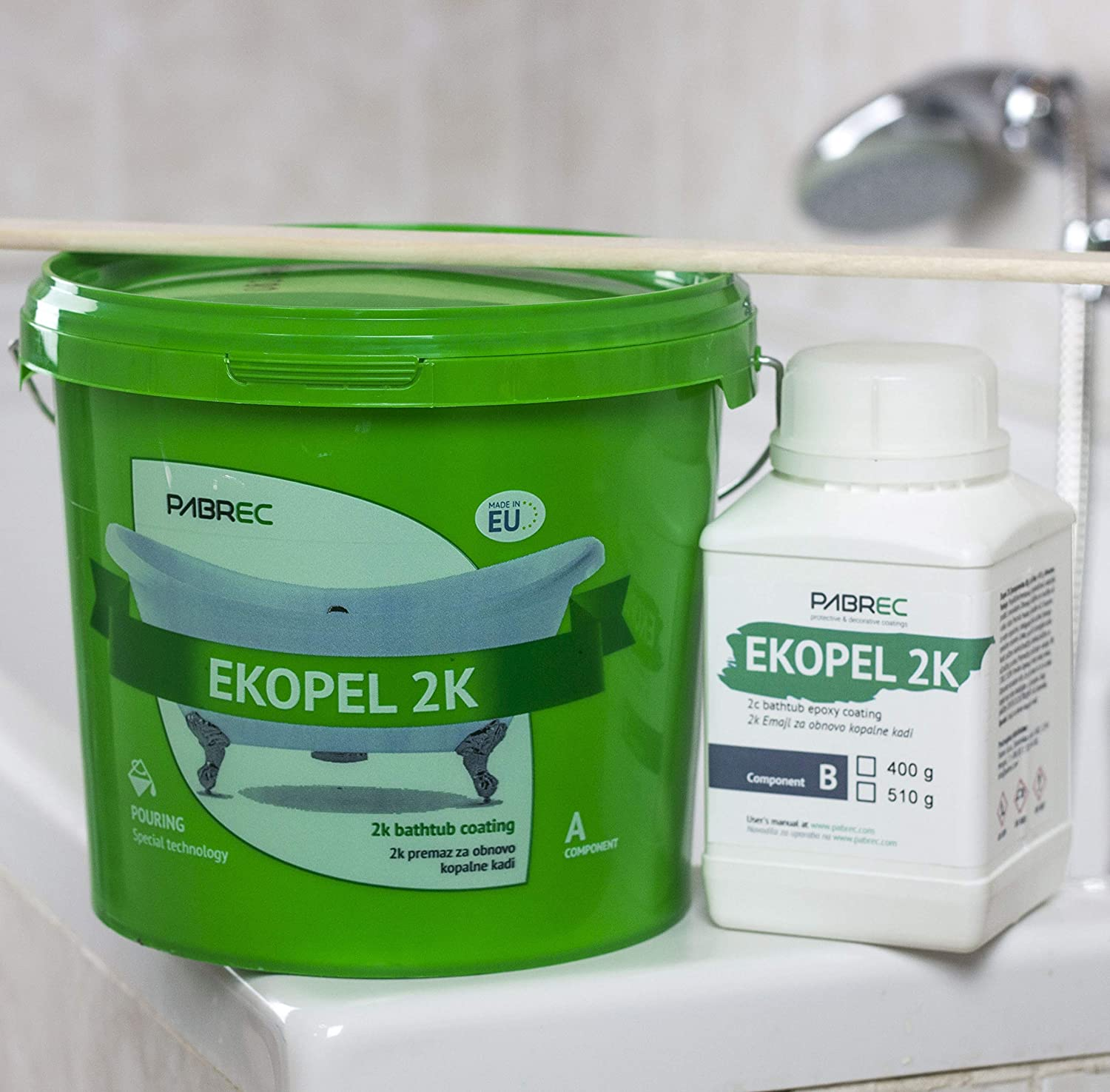 Ekopel 2k. Bathtub coating. 3400 g. Odourless. Just one layer is demanded. Pabrec