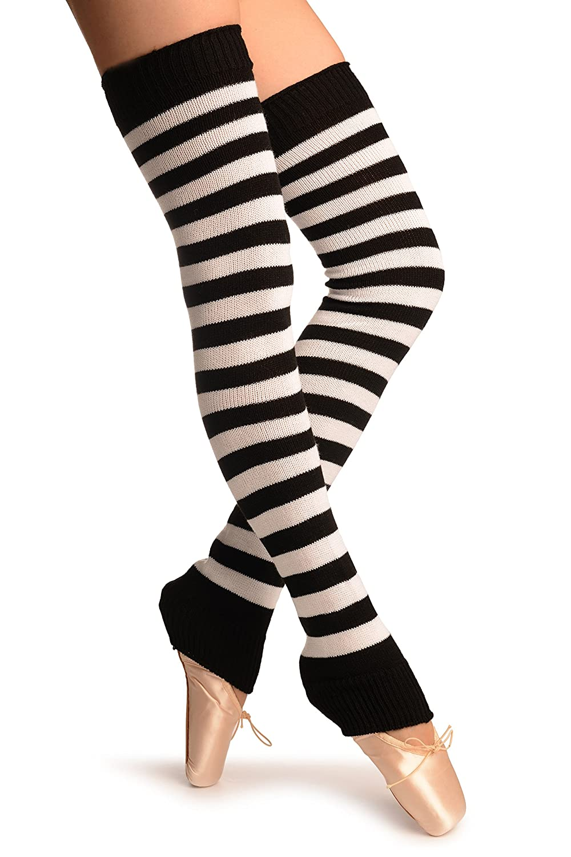 Leg Warmers Blanco Calentadores moda Talla unica 75 cm White /& Black Stripes Dance//Ballet Leg Warmers