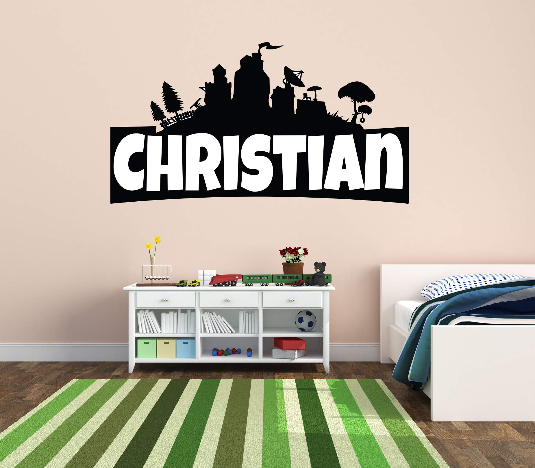 Custom Name Wall Decal - Famous Game - Wall Decal for Home Bedroom Nursery Playroom Decoration (Wide 40''x22'' Height) by CuteDecals