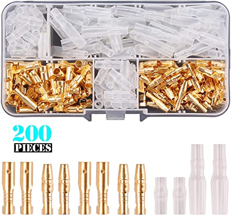 Kinstecks 200PCS 3.5mm Bullet Connectors Kit Brass Bullet Male /& Female Wire Terminals Connector with Insulation Cover for Motorcycle Motorbike Car Truck Scooter Boats Electric Instruments