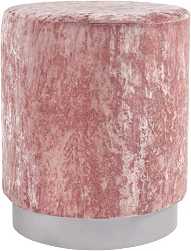 Signature Design by Ashley – Lancer Accent Ottoman – Contemporary Glam – Polyester Velvet Upholstery – Blush Pink Silver