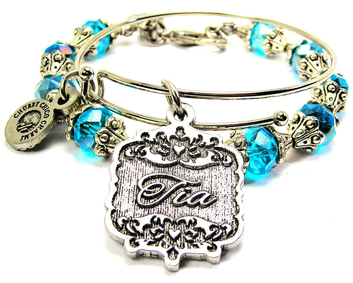 Chubby Chico Charms Tia Victorian Scroll Crystal Collection Bracelet Set in Aqua Blue