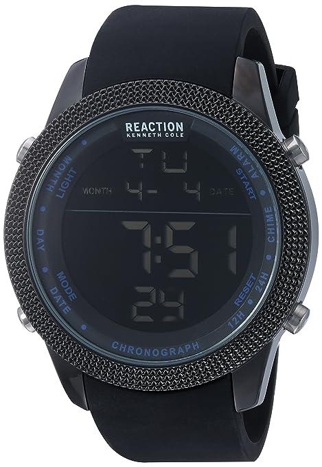 062112bd0fc2 Este reloj digital tiene una pantalla redonda de metal y una correa de  silicón. Posee funciones de cronómetro