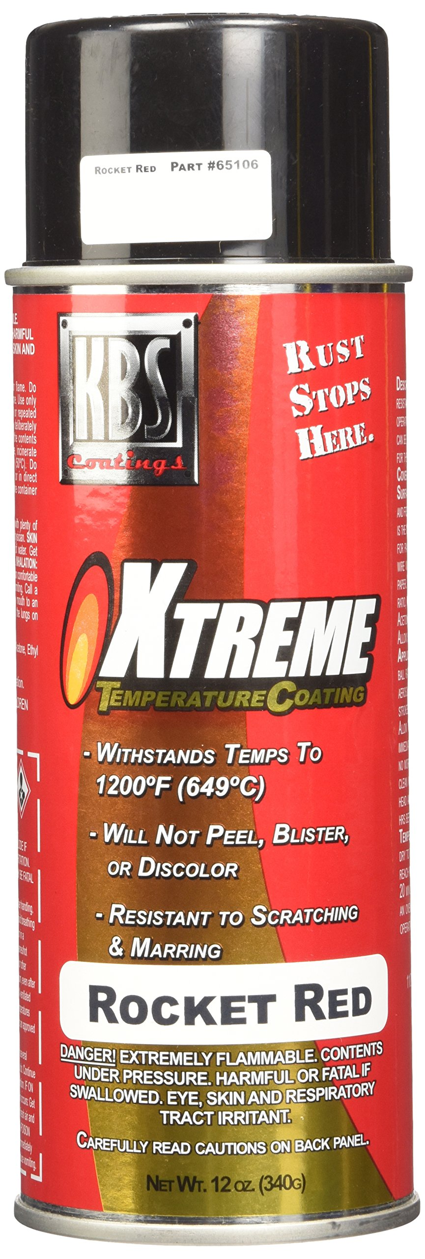 KBS Coatings 65106 Rocket Red Xtreme Temperature Coating - 12 fl. oz.