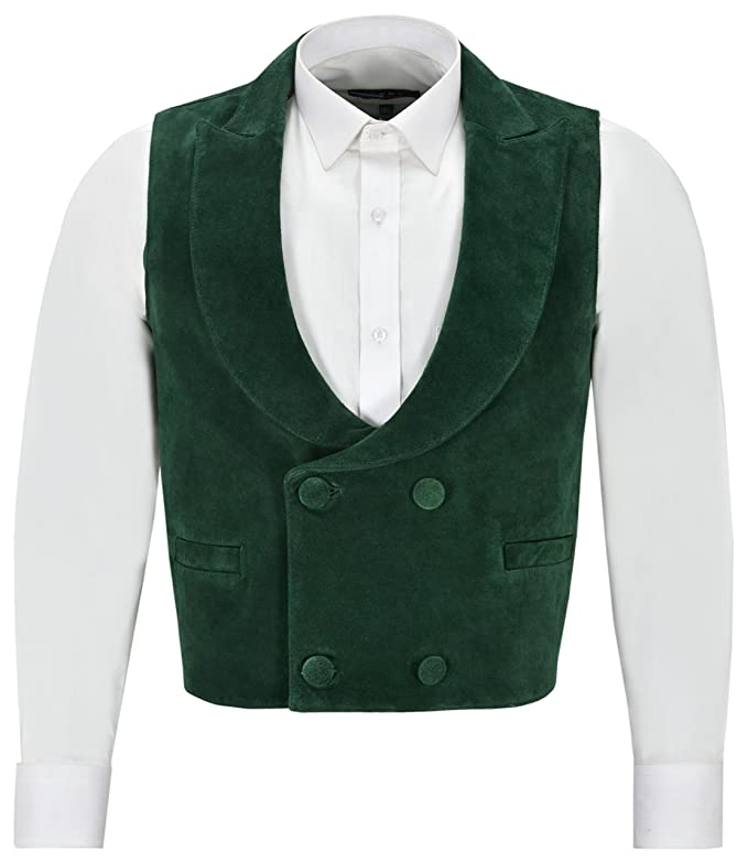 Men's Vintage Vests, Sweater Vests Smart Range Edwardian Suede Leather Waistcoat Green| Double Breasted Real Leather 3281 £59.99 AT vintagedancer.com