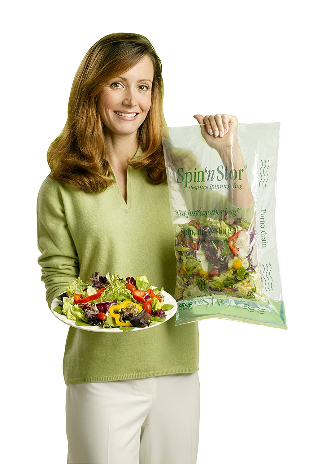 Argee RG900 Spin 'n Stor Reusable Salad Spinning Bags, 12-Pack RG900-12