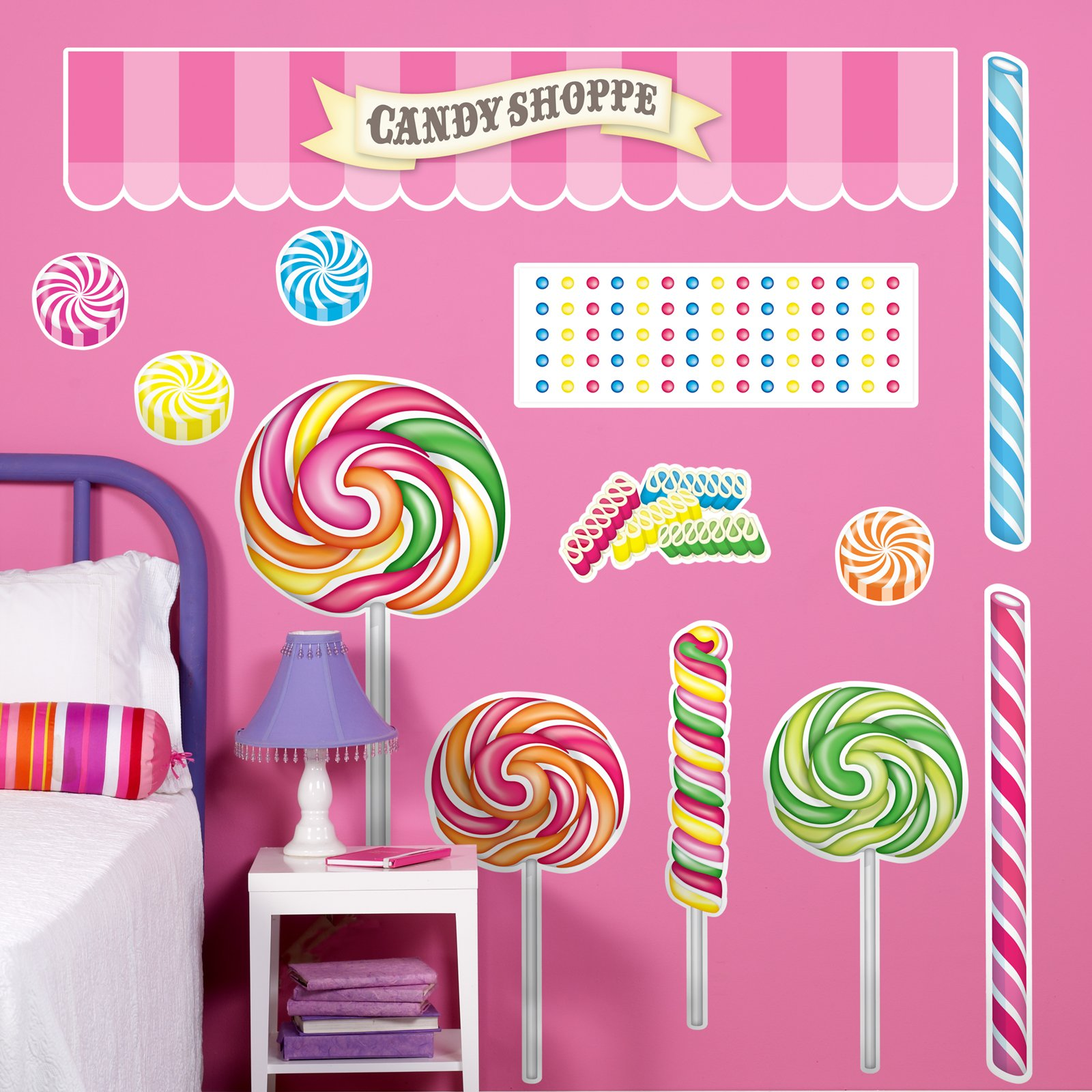 BirthdayExpress Carnival Candy Shoppe Room Decor - Giant Wall Decals, Party Supplies