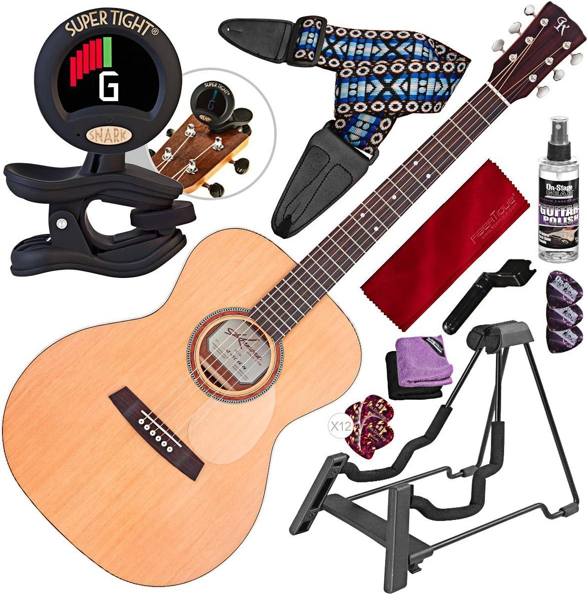 Kremona M15 - Guitarra acústica con cuerdas de acero, con soporte ...