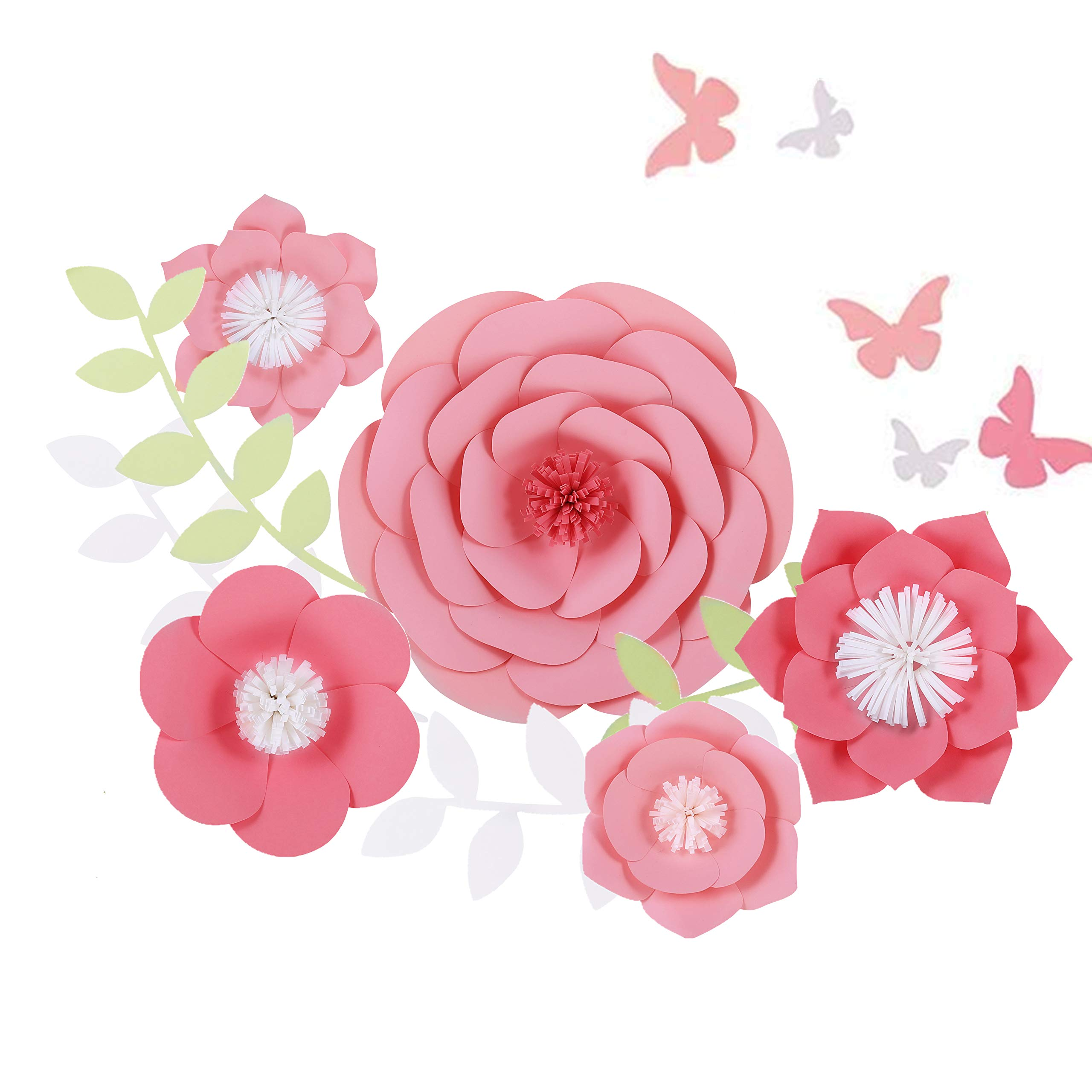 Fonder Mols Paper Flowers Decorations 5pcs 3D Pink Paper Peony Flowers - Nursery Wall Decor - Paper Flower Decor - Girls room wall decor - Baby Shower - Wedding Decor by Fonder Mols