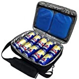 Red Suricata Insulated Slim Cooler - Thin, Flat Cooler Lunch Bag Fits 10 Drink Cans - 2 Slim Reusable Ice Packs Included…
