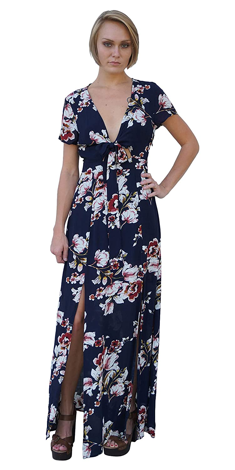 bda88f9f15 Navy Double Slit Tie Front Floral Maxi Dress | Casual Short Sleeve Flowy  Maxi (Medium) at Amazon Women's Clothing store: