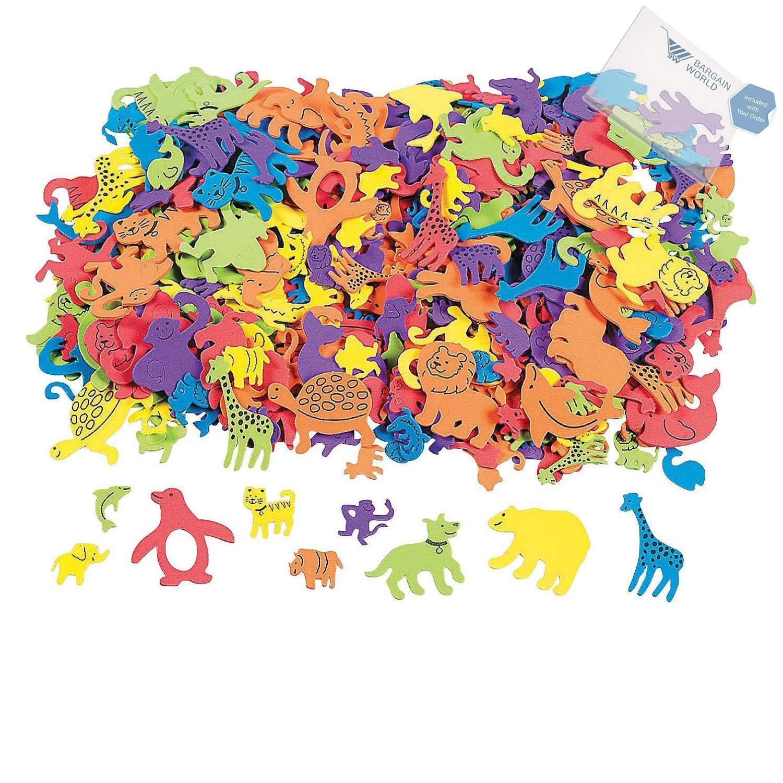 Bargain World 500 Fabulous Foam Self-Adhesive Animal Shapes (With Sticky Notes)