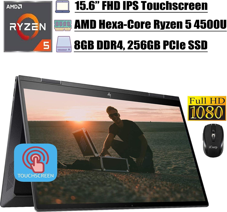 2020 Newest HP Envy X360 Business 2 in 1 Laptop, 15.6 inch FHD IPS Touchscreen, AMD Hexa-Core Ryzen 5 4500U (Beats i7-8550U), 8GB DDR4 256GB PCIe SSD, Backlit AlexaFP Win 10 + iCarp Wireless Mouse
