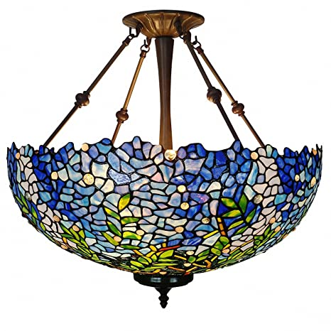 Chandeliers, Magcolor Tiffany Style Stained Glass Purple Wisteria Hanging  Lamp with 20\'\' Wide Art Glass Pendant Light, Suitable for Decorating Room