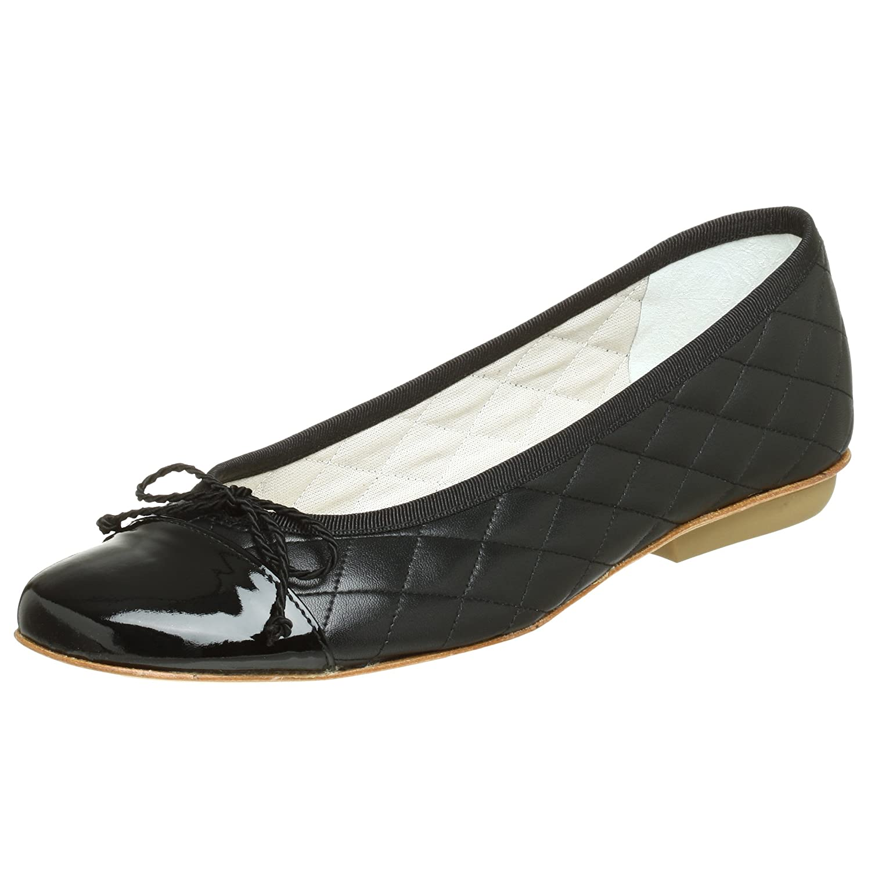 French Sole FS/NY Women's Passport Ballet Flat B0012EWA2O 5.5 B(M) US|Black Patent/Black Leather