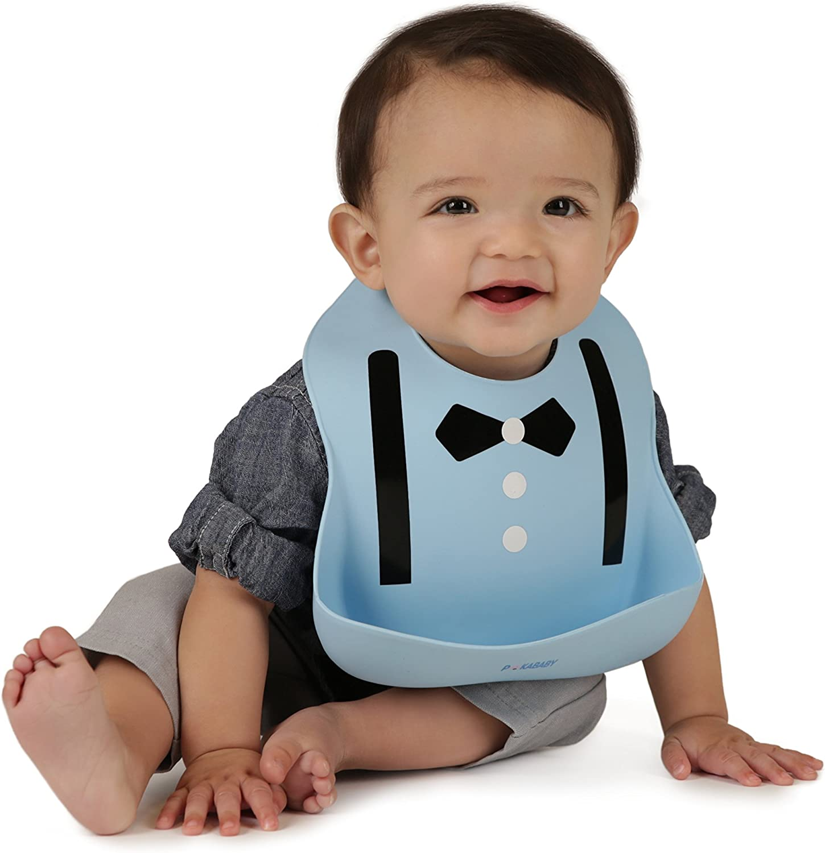 ONEST 3 Pieces Baby Bib Unisex Silicone Baby Bibs Waterproof Silicone Bibs for Little Girls Boys