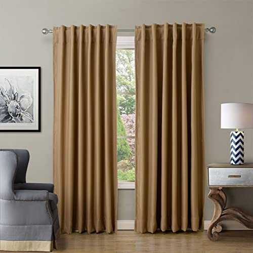 ChadMade Back Tab/Rod Pocket Wheat 52Wx120L Inch Set of 2 Panels Solid Thermal Insulated Blackout Curtain Drape