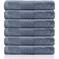 Cleanbear Cotton Washcloths Bath Wash Cloth Set(13 x 13 Inch), 6-Pack (Blue-Gray)
